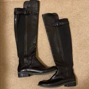 Over the knee black boots